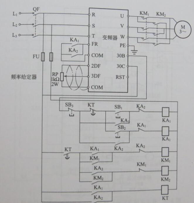 电机正反转加变频器调速接线图